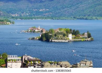 Isola Bella and Isola dei Pescatori, the famous Islands on Lago Maggiore lake. Stresa, Italy