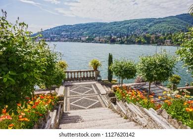 Isola Bella garden of Borromeo palace, Lombardy, Italy, Lago Maggiore, Stresa