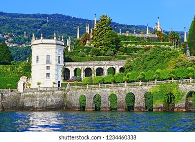 Isola Bella island,Piedmont/Italy-July 20 2018:Beautiful views of the magnificent terraced Italianate gardens of the Borromeo Palace that slope to Lake Maggiore