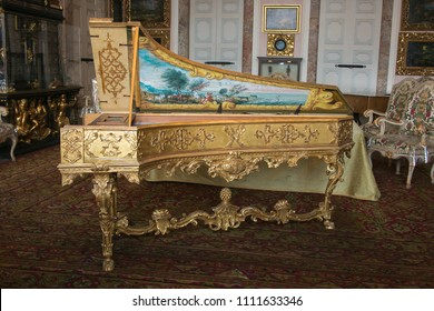 ISOLA BELLA, ITALY - JUNE 2, 2018: Photo of beautiful old harpsichord in the Borromean Palace, Isola Bella, Italy