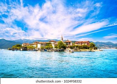 Isola dei Pescatori, fisherman island in Maggiore lake, Borromean Islands, Stresa Piedmont Italy, Europe. Long Exposure.