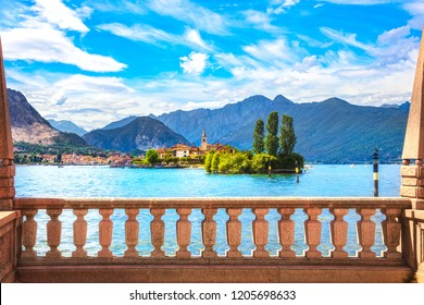 Isola dei Pescatori, fisherman island in Maggiore lake, Borromean Islands, Stresa Piedmont Italy, Europe. Long Exposure.
