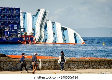 Isola del Giglio, Italy - May 2, 2013. Wreck of Costa Concordia