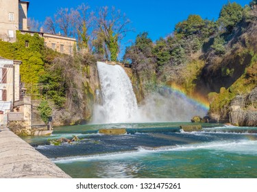 Isola del Liri, Italy - 17 February 2019 - A little medieval city in province of Frosinone, Lazio region, famous per del waterfalls in the historical center, built on a island of Liri river