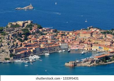 Isola d'Elba-aerial view of Portoferraio harbour