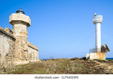 Isola delle Correnti, Sicily, Italy. Aug2012: Island old and new lighthouses at the Isola delle correnti in Portopalo di Capo Passero, the southern-most point ok Italy.