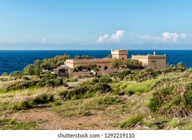 Isola delle Femmine or the Island of Women. Landscape of Mediterranean sea, Palermo, Sicily