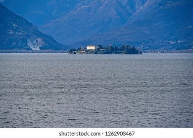 Isola Madre, Stresa. View from Santa Caterina del sasso hermitage, Lake Maggiore. Italy