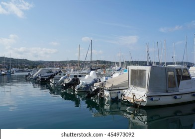 ISOLA, SLOVENIA - OCTOBER 10 - Boats moored in the marina on October 10, 2014 in Isola, Slovenia