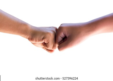 Isolate background with hand shake hit