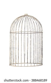 isolate bird cage rustic vintage style on white background