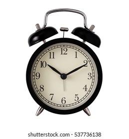 Isolate black retro alarm clock on white background