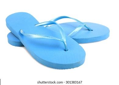 tongs isolés, bleus de plage