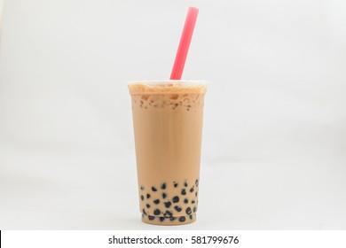 isolate bubble Ice milk tea, Ice milk tea on the white background
