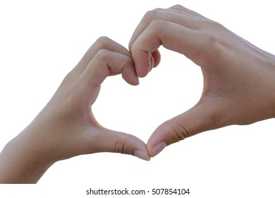 isolate clasped hands forming a heart with natural background
