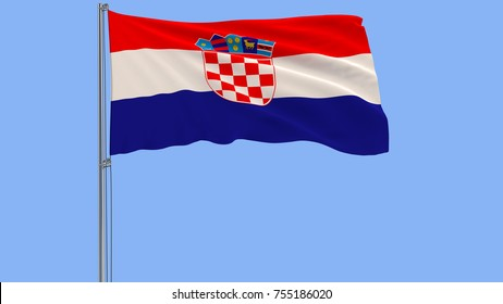 Isolate flag of Croatia on a flagpole fluttering in the wind on a blue background, 3d rendering