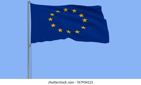 Isolate flag  of the Europa on a flagpole fluttering in the wind on a blue background, 3d rendering