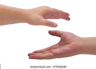 Isolate man hand on white background
