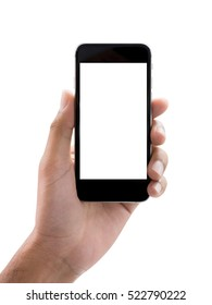 Isolate man left hand holding black smart phone(mobile or cell phone with touch screen) with empty blank white screen on white background