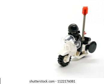 isolate model toy of the cop ride motorcycle on white background