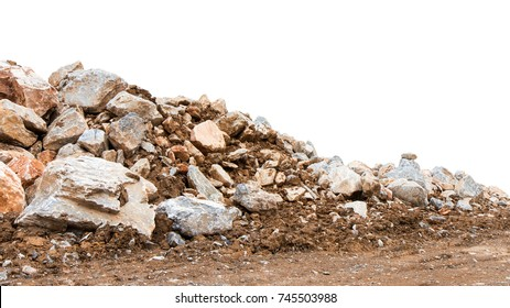 Isolate mountain pile of various rocks mixed with sandy loam.