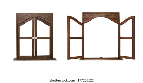 isolate open and close wooden window on white background