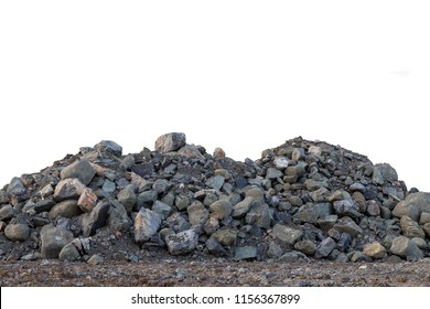 Isolate pile of large granite blocks on the ground in the countryside to prepare materials for construction.