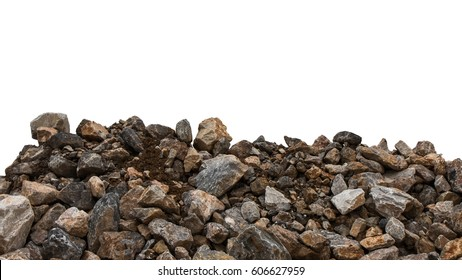 Isolate pile of large and small granite stack is mixed with the loamy soil, which is still wet.