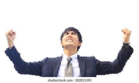 isolate polygon photo , business man action elated as if he has get to promote or success , white background