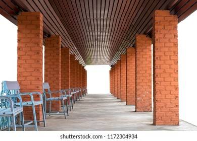 Isolate Rows Of Pillar Bricks With Benches On Concrete Floors, Which Are  Used As Entrances