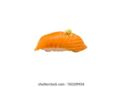 isolate salmon sushi and wasabi on top