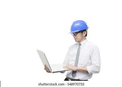 The isolate scene of engineer hold the laptop by the hand with the white background