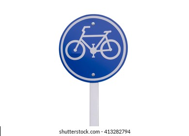 Isolate Signs for bicycle lanes on white background