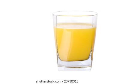 Isolate small glass of orange juice