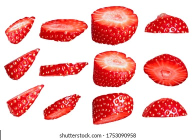 Isolate of strawberry slices on a white background. Cut berry. Element for the design.