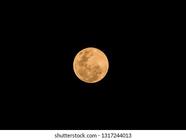 isolate of super fullmoon in dark sky background