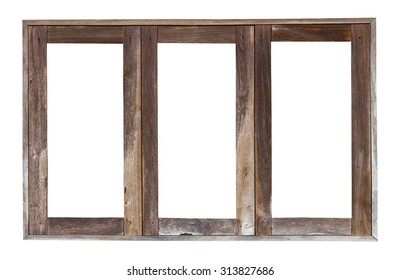 Isolate the transom of weathered old wooden window frames, the three antique channels.