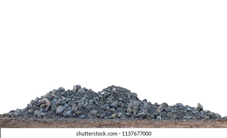 Isolate View A large granite pile on the ground to prepare for use as a construction material.