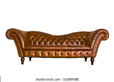 isolate vintage leather sofa on white background