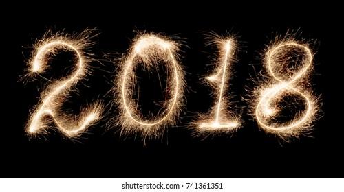 isolated 2018 written with Sparkler firework on black