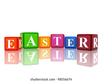 isolated 3d color cubes with text easter