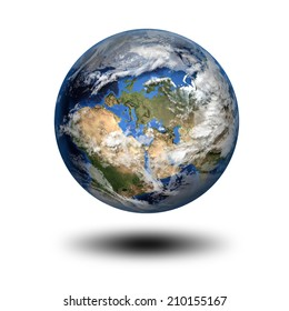 Isolated 3D image of planet Earth with shadow. View to Europe and Africa. Elements of this image furnished by NASA.