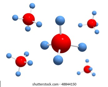 Isolated 3D models molecule of methane (natural gas) on a white background