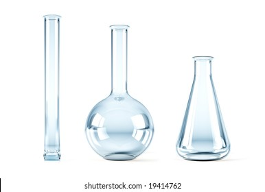 isolated 3d rendering of the empty chemical flasks