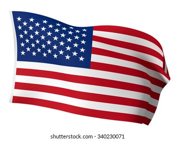 isolated 3d usa flag