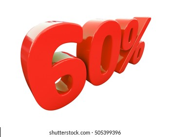 Isolated 60 Percent Discount 3d Sign on White Background, Special Offer 60% Discount Tag, Sale Up to 60 Percent Off, Sale Symbol, Special Offer Label, Sticker, Tag, Badge, Emblem, Web Icon