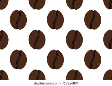 Isolated abstract coffee beans seamless texture. Morning drink background. Cafe wallpaper interior design. coffee illustration. Energetic beverage backdrop. Latte, espresso,americano sign