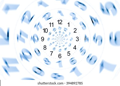 isolated abstract number and time for  on white wallpaper or background / Infinity period/ Digital generated minutes / Past Present Future / The power of now