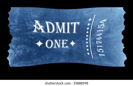 Isolated admit one ticket on a black background
