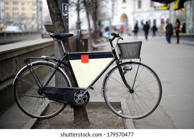 Isolated ads bike, ready to display commercials in the city